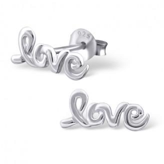 "Stříbrné náušnice pecky ""LOVE - Láska"". Ag 925/1000"